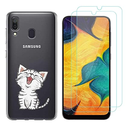 Funda Samsung Galaxy A40 Lindo Gato Suave TPU Silicona Protector Trasero Carcasa para Samsung Galaxy A40 (5,7 Pulgada) con Dos Protector de Cristal ...