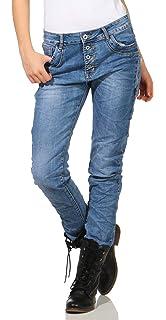 cf73cae66bbcbc KAROSTAR Chino Damen Jeans Baggy Hose Boyfriend Hüfthose 19: Amazon ...