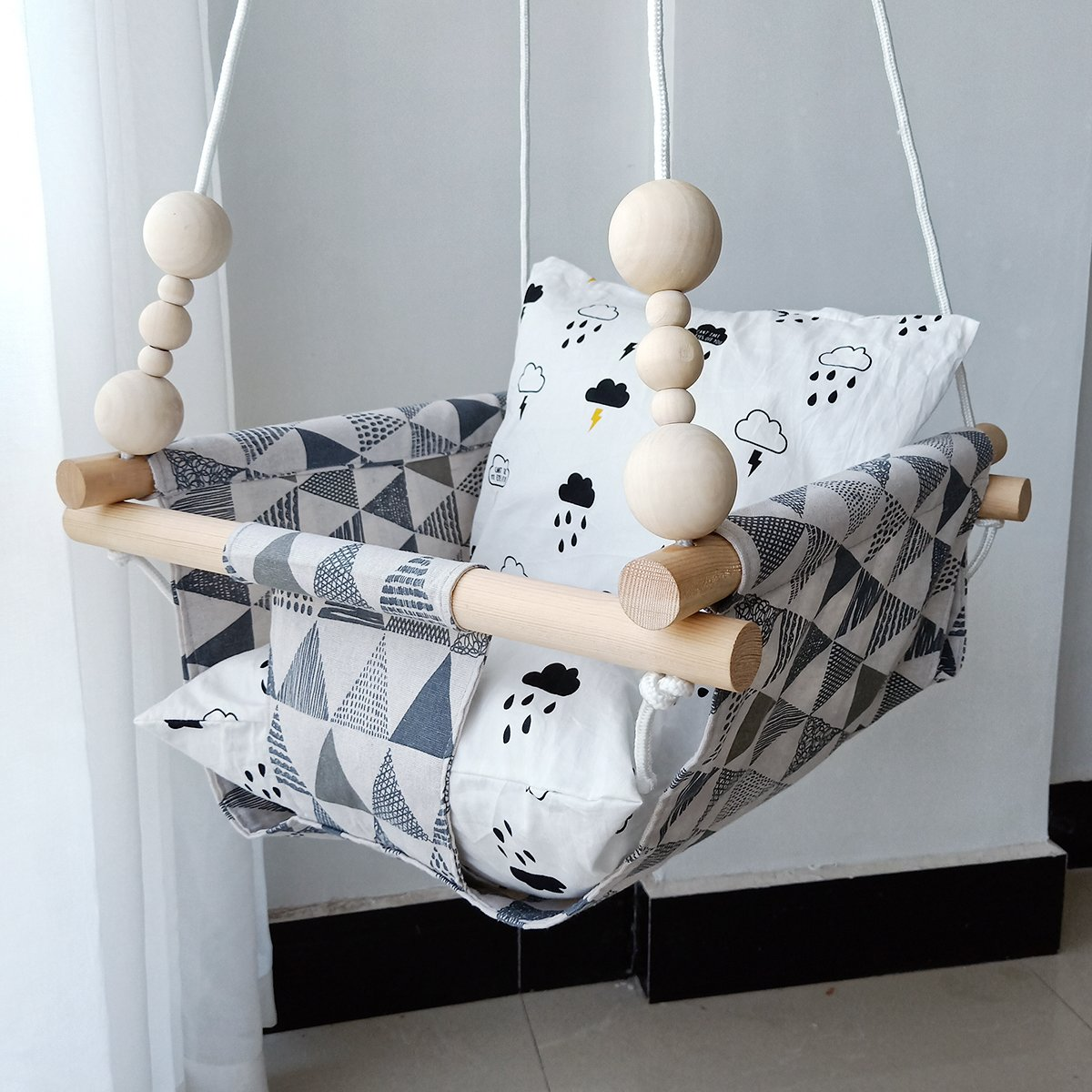 HB.YE Safety Canvas Baby Swing Chair with Wood Protector, Kids Outdoor Swing Seat Hanging Hammock with Cushion and Beads, Warm Nursery Decor - Grey Triangular BB00156-2UK