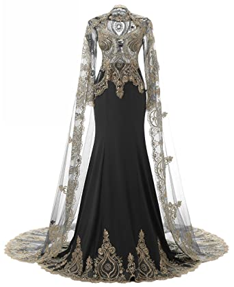 Kings Love High Neck Rhinestone Mermaid Long Sleeve Evening Dresses With Shawl Black US2