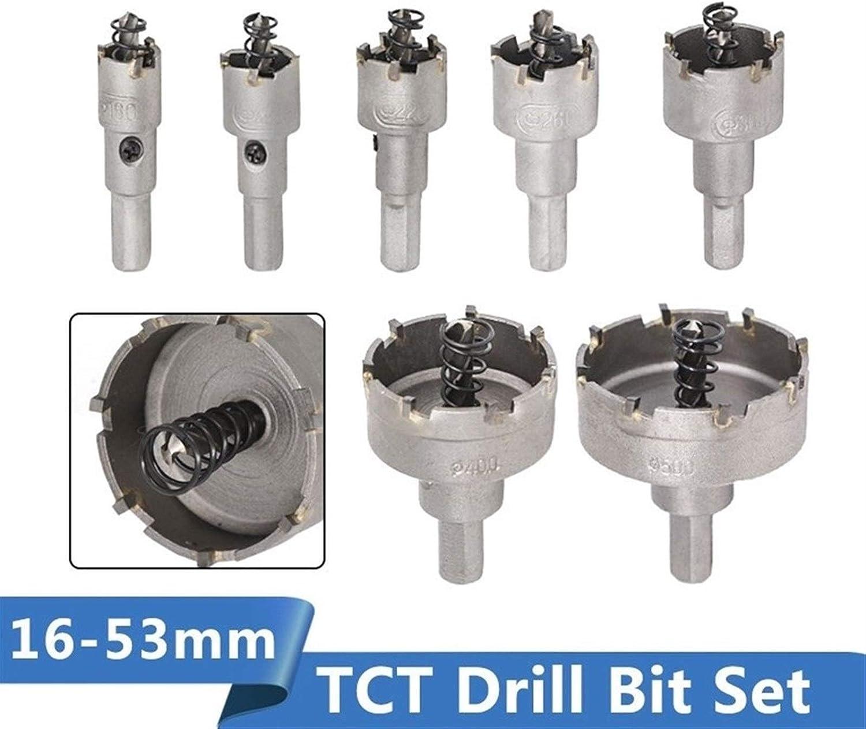 SHENYUAN TCT Drill Bit 16-53mm Hole Saw Set Carbide Tipped Wood Metal Core Drill Bit Hole Saw Cutter (Color : 13pcs 16 53mm Set) 10pcs 16 50mm Set