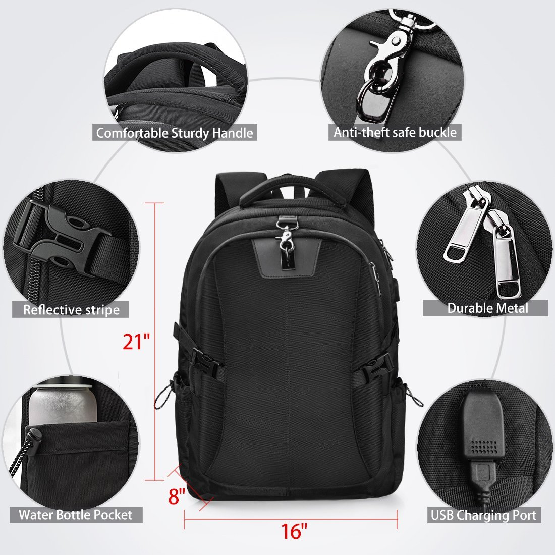 Laptop Backpack 17.3 Inch Travel Anti-theft Waterproof School Backpack Business College Large Capacity Gaming Laptop Backpacks USB Charging Port for Men Women Black by NEWHEY (Image #5)
