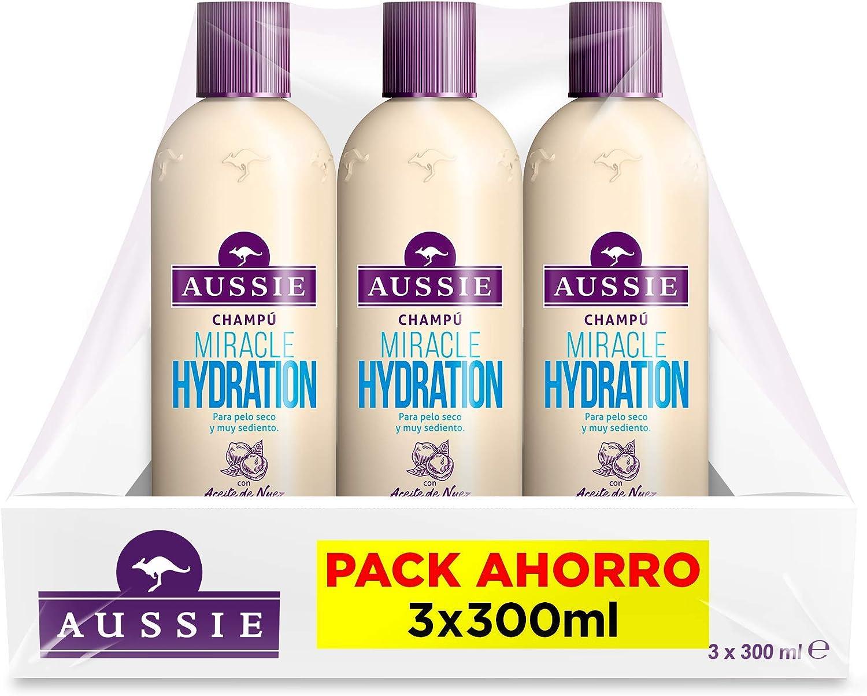 Aussie Miracle Hydration Champú para El Cabello Dañado, Fórmula Hidrata y Revitaliza Intensamente - Pack de 3 x 330 ml - Total: 990 ml: Amazon.es: Belleza