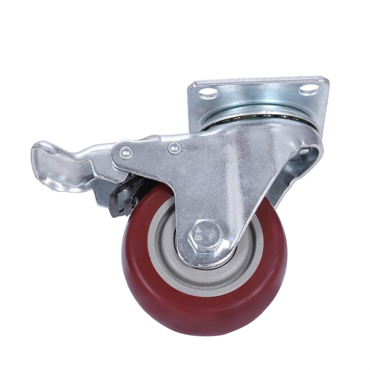3 inch with Brake SNOWINSPRING 4 Pack Caster Wheels Swivel Plate with Brake On Red Polyurethane Wheels