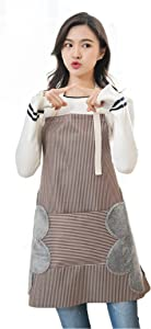 Waterproof Adjustable Kitchen Women Apron with Pockets Towels Bib for Cooking