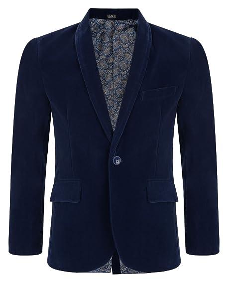 Amazon.com: Samli Boys Kids Velvet Blazer Jacket Navy Blue 1 ...