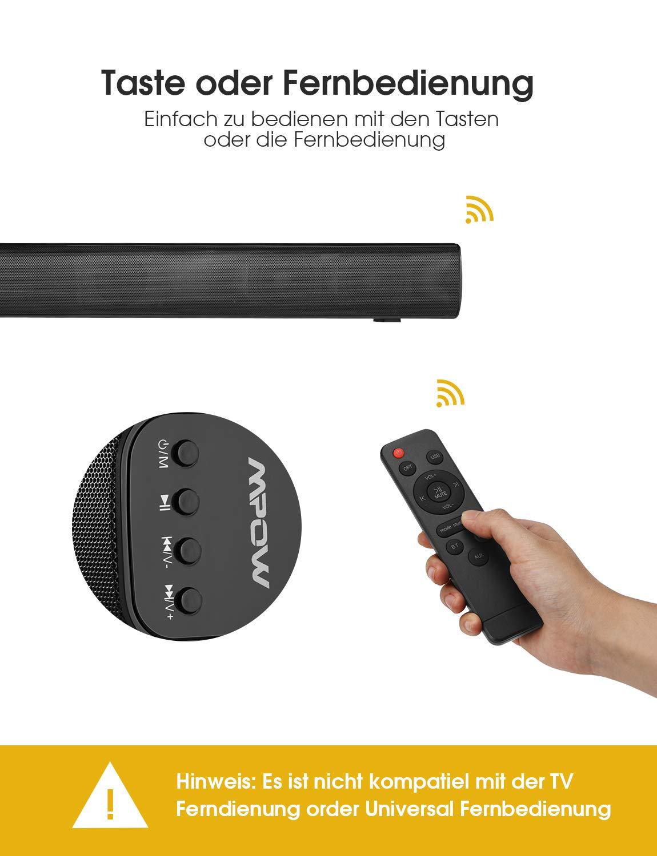 HDMI//Optisch//AUX//RCA//USB-Eingang Mpow Sound Bar f/ür Fernseher 29-Zoll 40 W 2.0-Kanal Kabelgebundene und drahtlose Bluetooth 5.0-Stereo-Heimkinosystem-TV-Lautsprecher mit 3D-Stereo-Surround