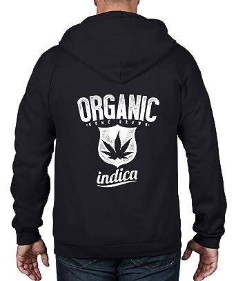 Organic Indica Marijuana Cannabis Unisex Full Zip Hoodie (Small, Black)
