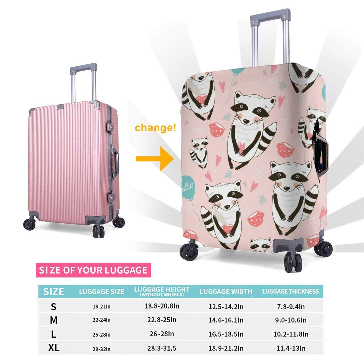 Raccoons That Say Hello Travel Luggage Cover Suitcase Protector Washable Zipper Baggage Cover