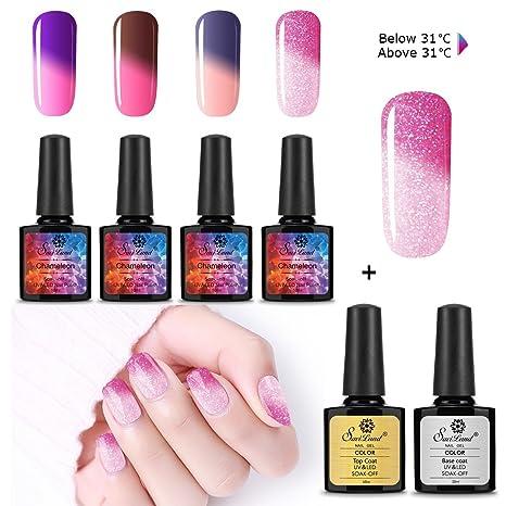 Esmalte de uñas que cambia de color + base de capa superior, Saviland Soak Off