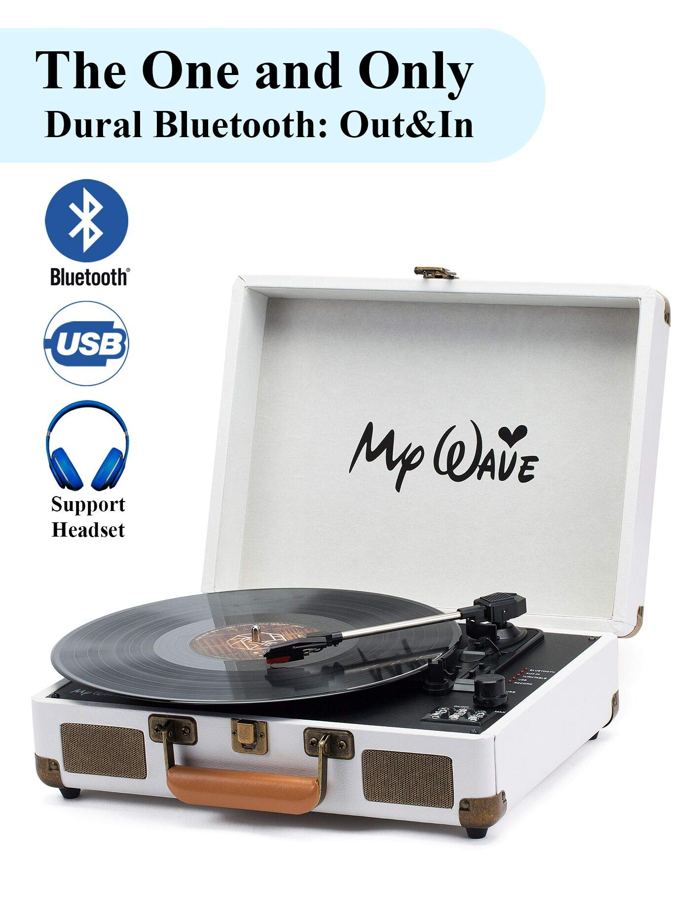 MyWave Portable Bluetooth Wireless Turntable with Built-in Stereo Speakers, 3-Speed,Vinyl-to-MP3 Recording,Both Bluetooth Transmit Out & Receive in,AUX in,RCA Out,Headphone Jack,White (White) by MyWave