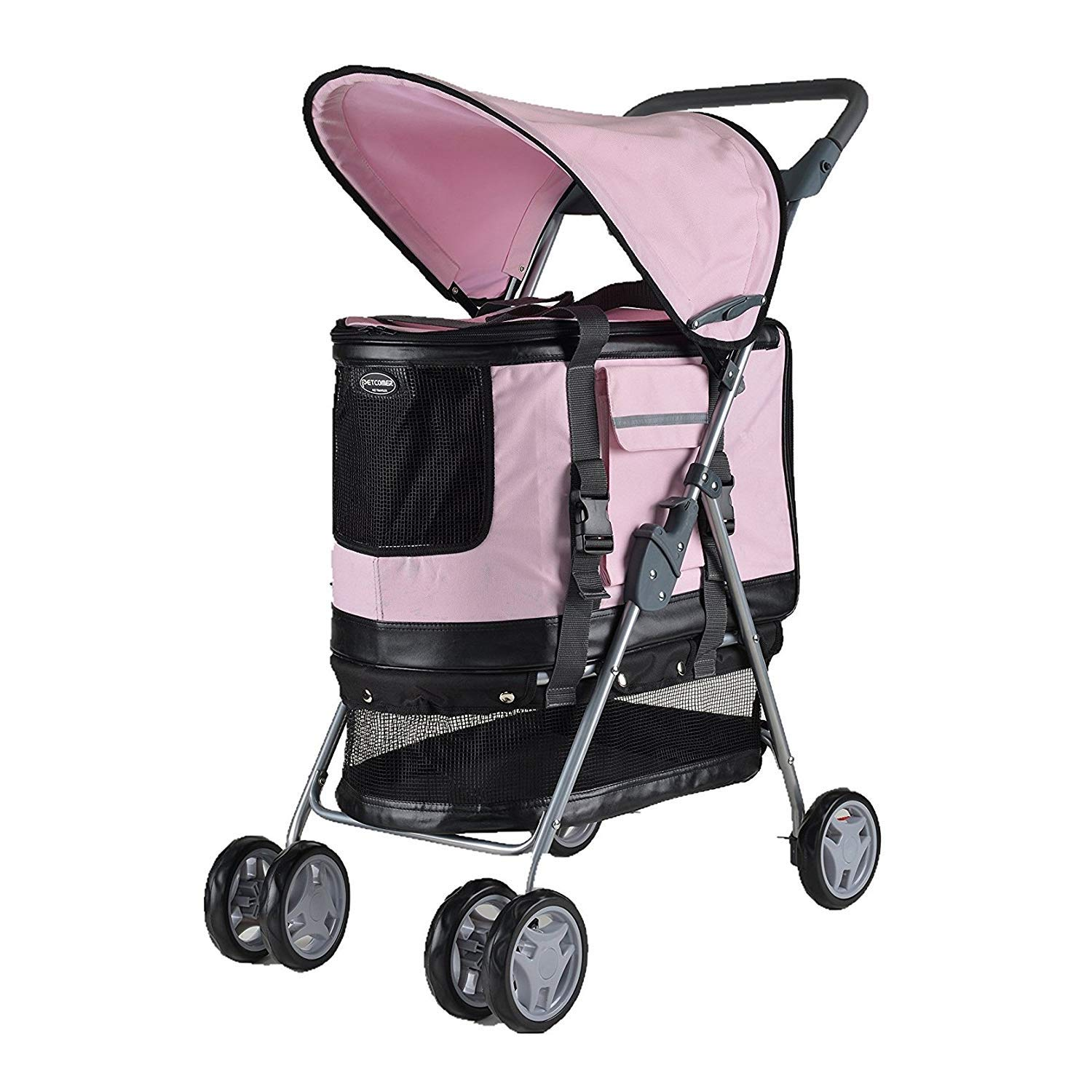 Pink GWM Backpacks 4 Wheel Pet Stroller Dog Pushchair Trolley Puppy Jogger Foldable Travel Carrier Strolling Cart for Dogs and Cats (color   Pink)