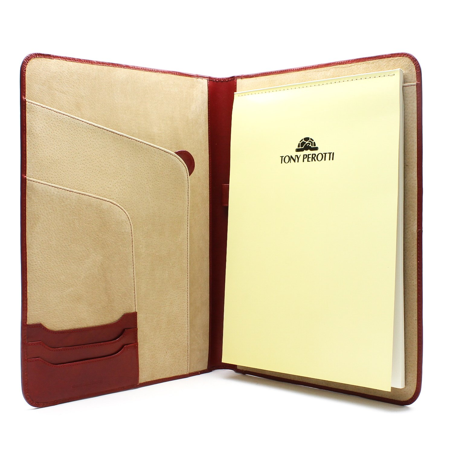 Tony Perotti Unisex Italian Bull Leather Express Business 8.5'' x 11'' Writing Padfolio in Red