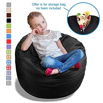 BeanBob Stuffed Animal Bean Bag - Kids Stuffed Animal Storage Bag Chair - Pouf Ottoman for Toy Storage 2.5ft, Black: Kitchen & Dining