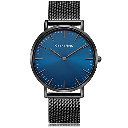 Reloj de pulsera analógico de cuarzo minimalista para hombre con correa de acero inoxidable de malla negra milanesa resistente al agua ultra delgado en la ...