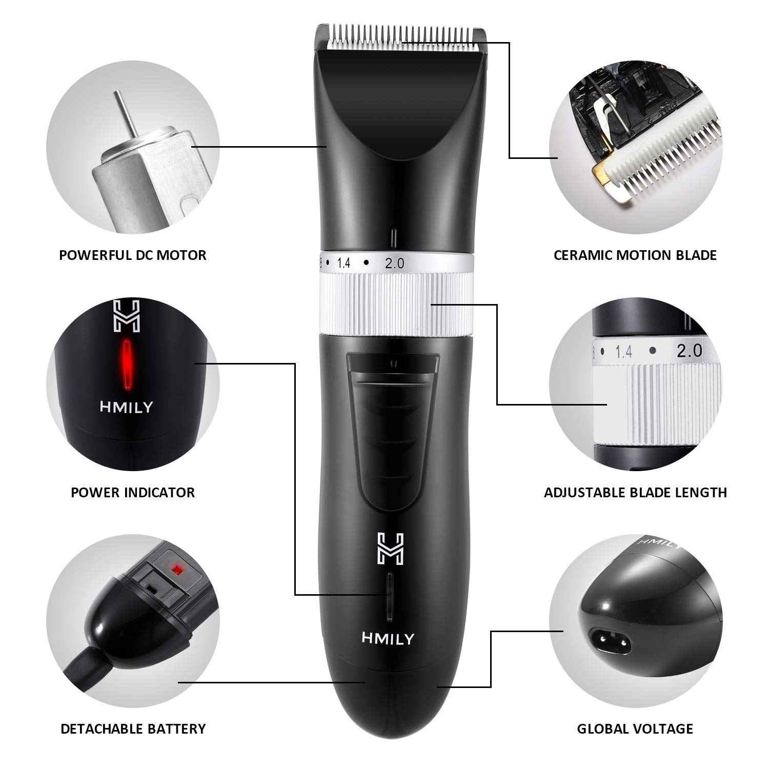 Professional Hair Clippers for Men, Cordless Beard Trimmer Rechargeble Hair Buzzer - Black