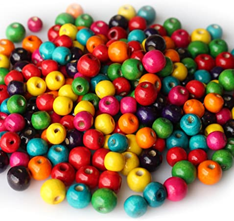 about 6mm Wooden Bead Ball Spacer 200 x Wood Beads Round Dyed Mixed Color