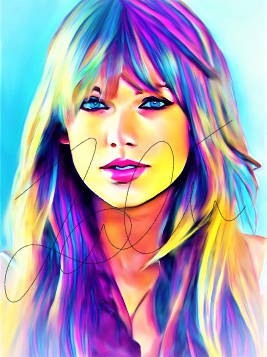 Taylor Swift Abstract Drawing Print Poster Hand Drawn Pop Art Vibrant Painting Swift Abstract5