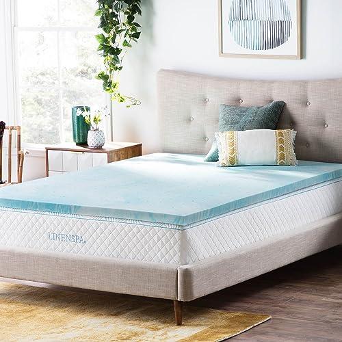 Linenspa 2 inch gel infused memory foam mattress topper - queen size