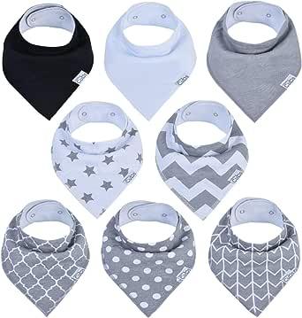 Baby Bandana Bibs, Drool Bib, Drooling Teething, 100% Organic Cotton, 8 Pack Unisex Boys Girls Grey by Comfy Cubs