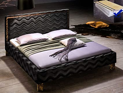 Cama acolchada cama doble 180 x 200 cm, funda de tela negro ...