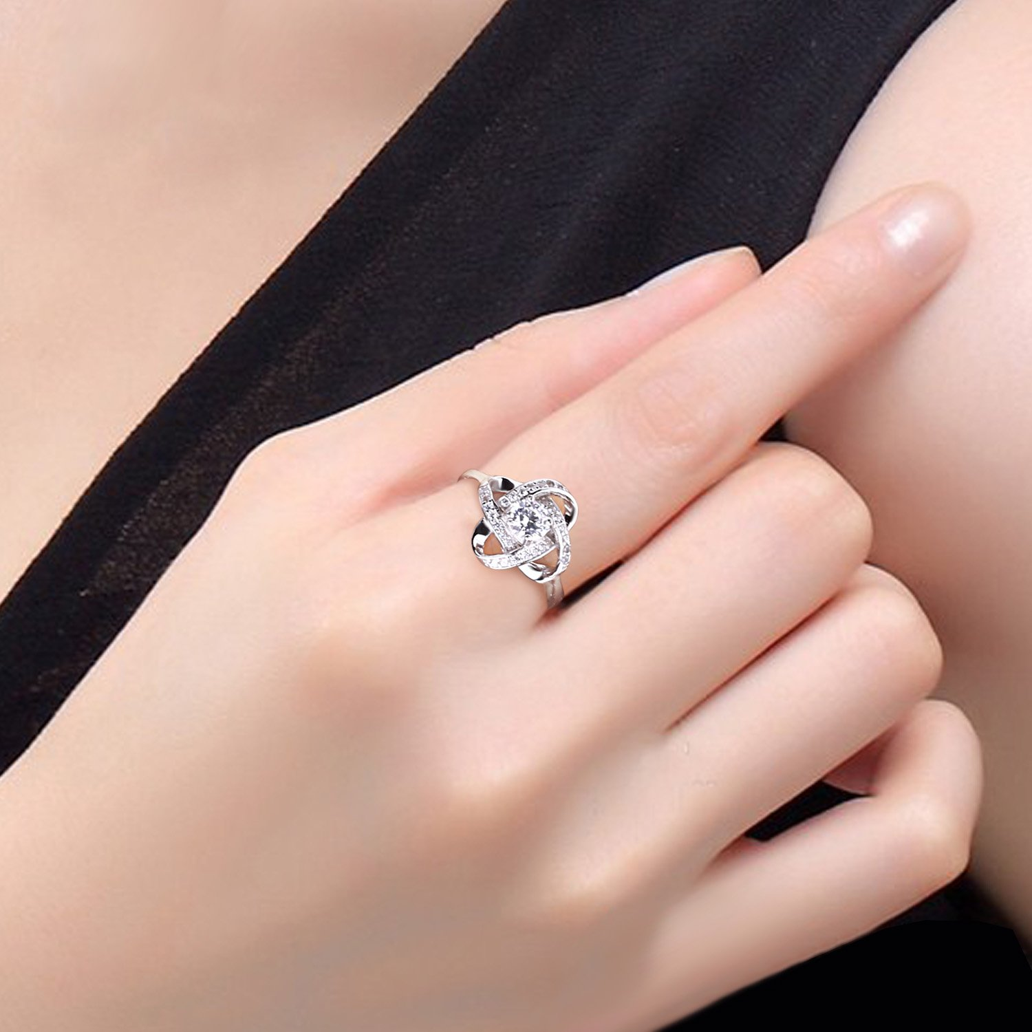 B.Catcher Women's Ring Adjustable 925 Sterling Silver Cubic Zirconia Valentine's Gift for Her by B.Catcher (Image #5)
