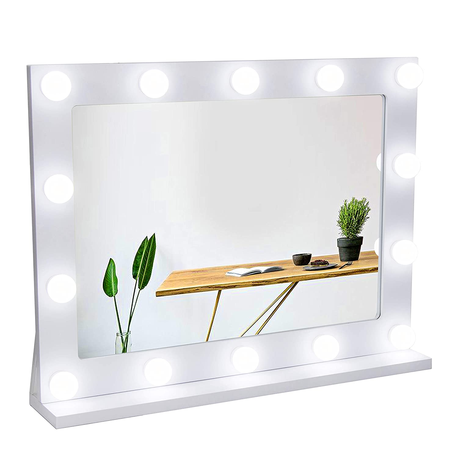 Waneway Vanity Mirror with Lights, Hollywood Lighted Makeup Mirror with 14 Dimmable LED Bulbs for Dressing Room Bedroom, Tabletop or Wall-Mounted, Slim Wooden Frame Design, White