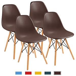 Furmax Pre Assembled Modern Style Dining Chair Mid Century Modern DSW Chair, Shell Lounge Plastic Chair for Kitchen, Dining, Bedroom, Living Room Side Chairs Set of 4(Brown)