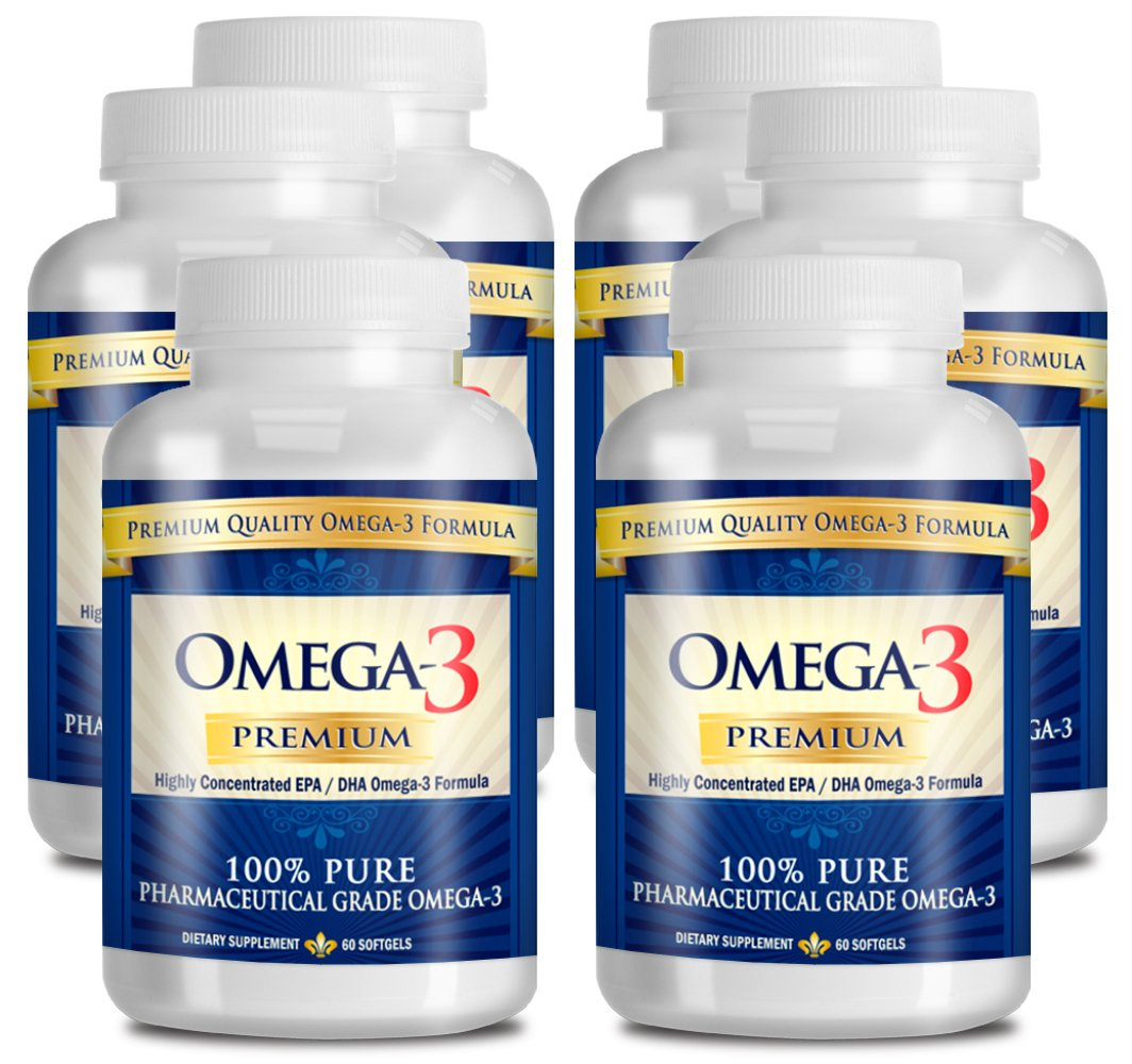 Omega-3 Premium: Omega 3 Fish Oil - 100% Pure Omega Fatty Acids - High 800mg EPA & 600mg DHA for a Healthy Heart and Positive Well-Being - No Aftertaste - 360 Softgel Capsules - 6 Months Supply