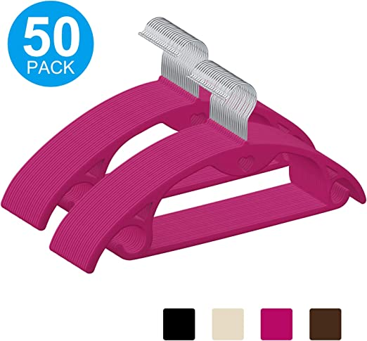 IEOKE Velvet Clothes Hangers Non Slip 50-Pack No Shoulder Bumps Suit Hangers Ultra Thin Space Saving 360 Degree Swivel Heavy Duty Hook Durable Hangers for Sweaters,Coat,Jackets,Pants,Shirts,Dresses