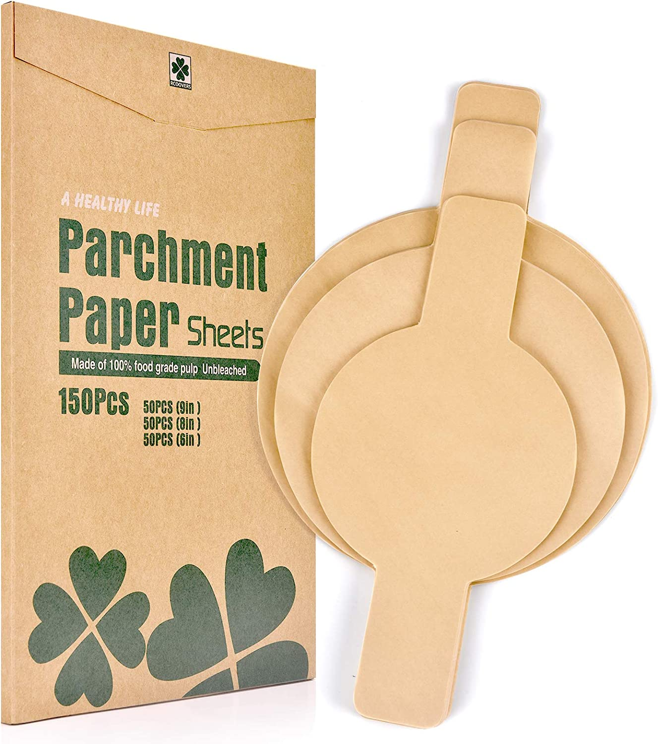Baking Parchment Paper Rounds with Easy Lift Tabs, 150Pcs Unbleached 6/8/9