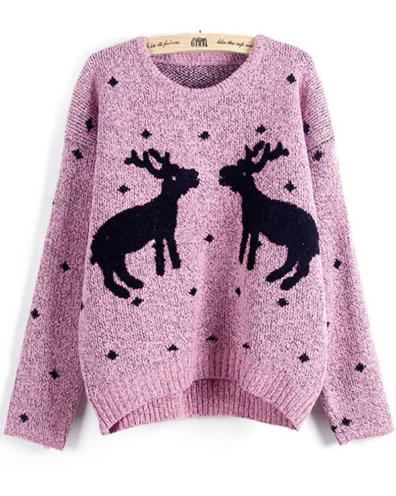 Emoyi Women Girl Ugly Christmas Shining Reindeer Snowflake Pullover Sweater Jumper OK-98