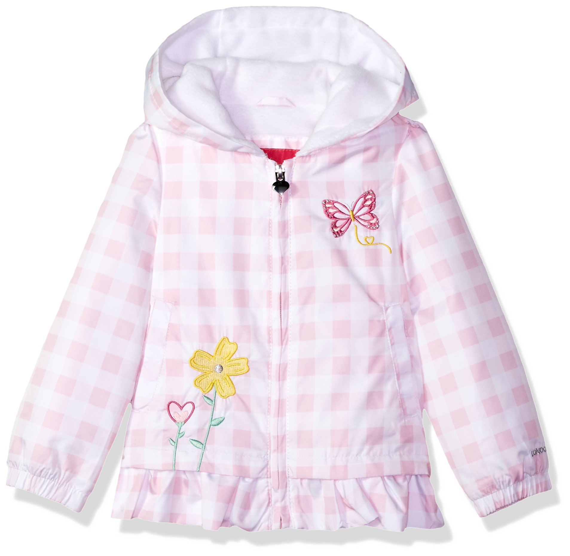 London Fog Toddler Girls' Midweight Fleece Lined Jacket, Pink Gingham, 4T by London Fog