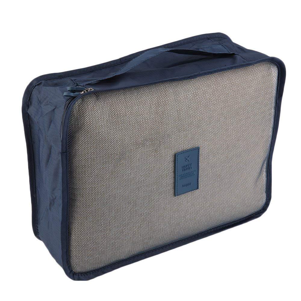 Binghotfire 6pcs//Set Waterproof Clothes Storage Bag Packing Cube Travel Luggage Organizer Dark Blue