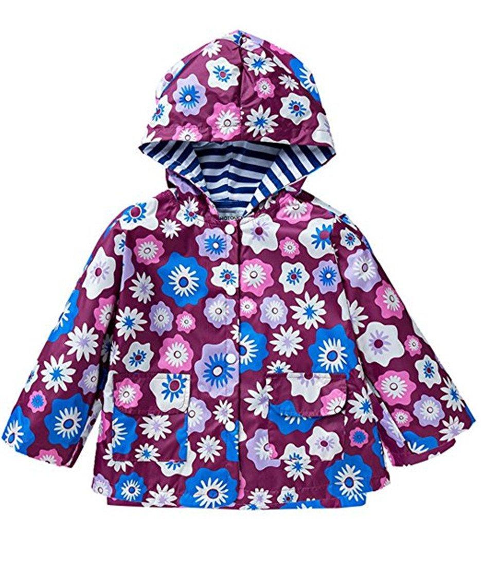 FAIRYRAIN Little Kids Girls Waterproof Lightweight Windbreaker Outwear Raincoat Hoodies