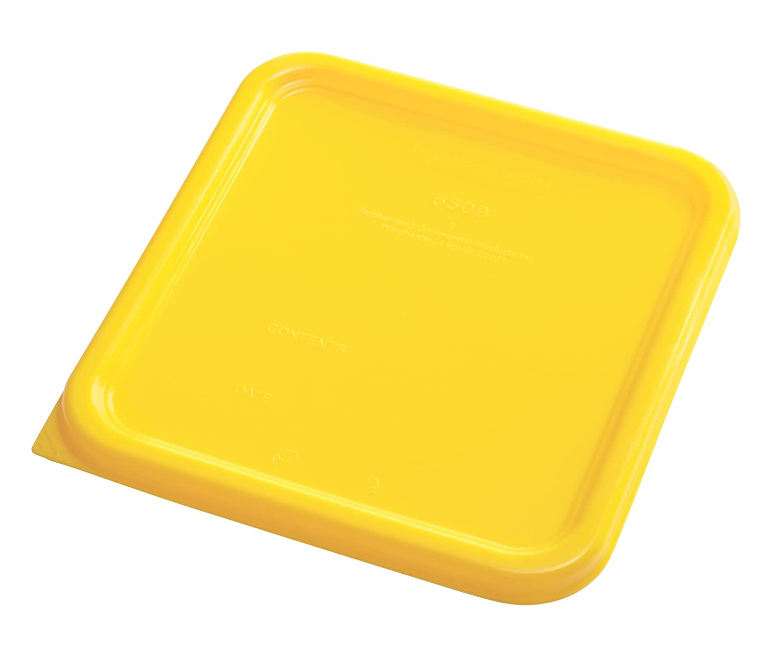 Rubbermaid Commercial Products 1980303 Rubbermaid Commercial Plastic Food Storage Container Lid, Square, Yellow, 4 and 8 quart