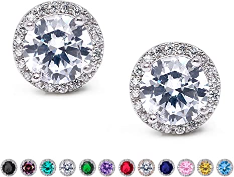 Classic flower stud earrings with CZ Zircon handcrafted and hand finished in Israel Sterling Silver gift for her Christmas gift New year