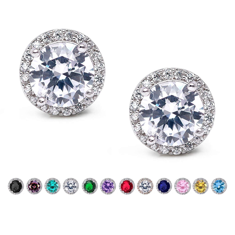 87e691c57 Amazon.com: SWEETV Cubic Zirconia Stud Earrings, Rhinestone Hypoallergenic  Earrings for Women & Girls & Bridesmaid, Clear: Jewelry
