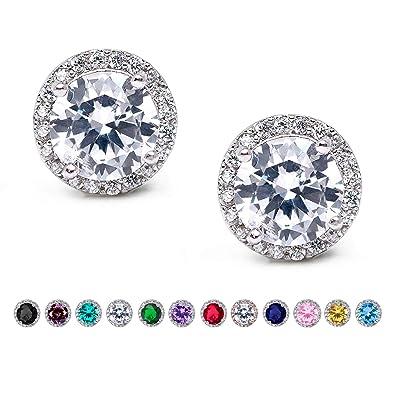cc63af09c SWEETV Cubic Zirconia Stud Earrings, Rhinestone Hypoallergenic Earrings for  Women & Girls & Bridesmaid,