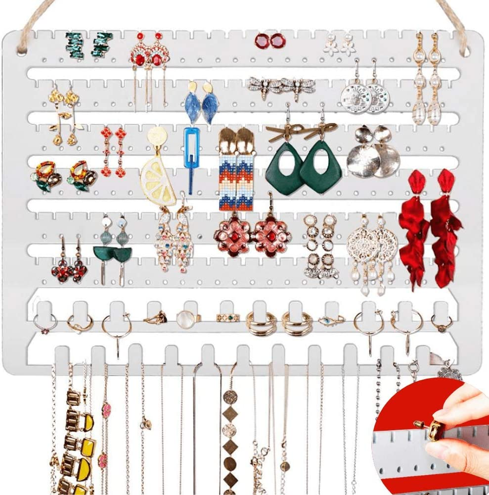 Wooden Jewelry Organizer Wall Mounted, Hanging Jewelry Organizer Earring Organizer Necklace Holder Bracelet Holder Over the Door, Jewelry Holder for Earrings, Necklaces &Rings