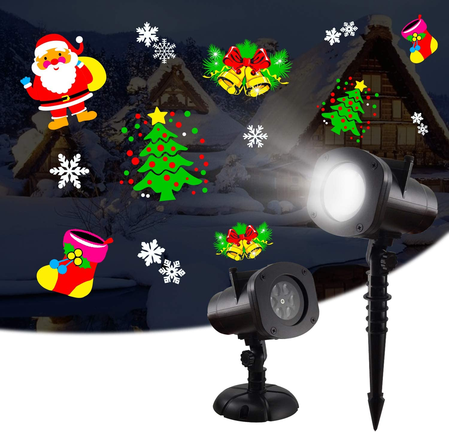 Christmas LED Projector Lights, WOLFTAIL Outdoor&Indoor Rotatable Lamp, Halloween Snowflake Projector with 12 Themes, Waterproof Landscape Decorative Lighting Garden Party New Year Xmas