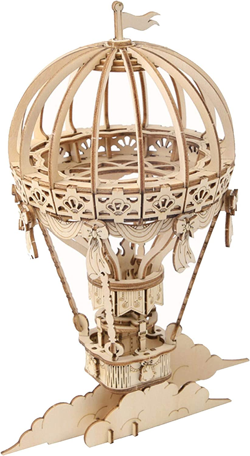 Hands Craft Hot Air Balloon DIY 3D Wooden Puzzle Model Kit - Laser Cut Wood Pieces, Brain Teaser and Educational STEM Building Model Toy (TG406)