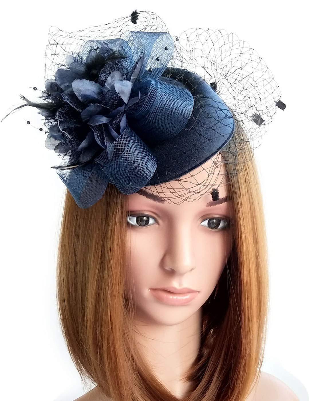 Coolwife Fascinator Hats Pillbox Hat British Bowler Hat Flower Veil Wedding Hat Tea Party Hat (Navy Blue)