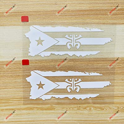 3S MOTORLINE (2) 4'' White Puerto Rico Map Flag Coqui Frog Decal Sticker PR Car Vinyl no bkgrd die Cut sda1: Automotive