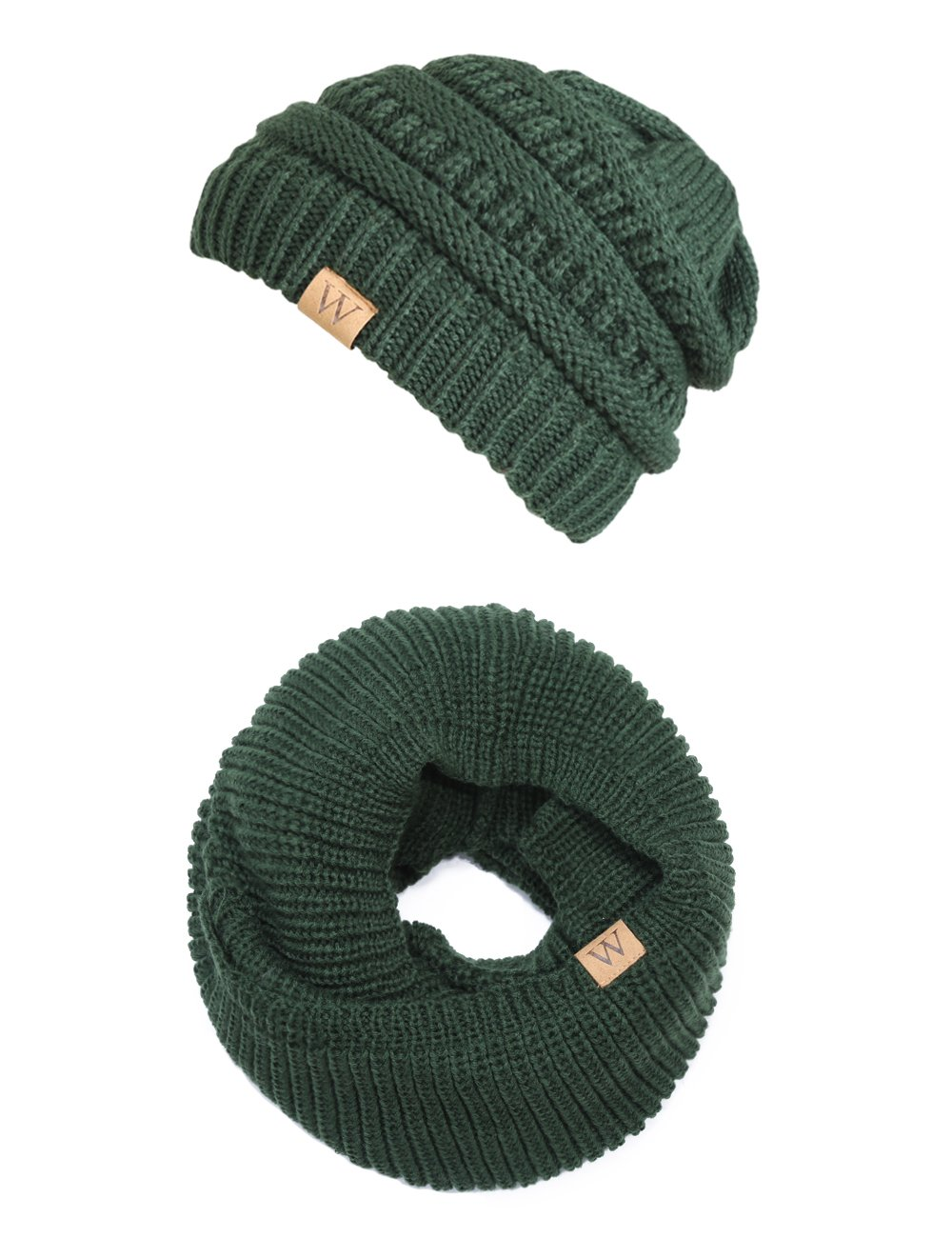 EVRFELAN Winter Warm Knitted Infinity Shamrock Scarf and Beanie Hat Set (Green)