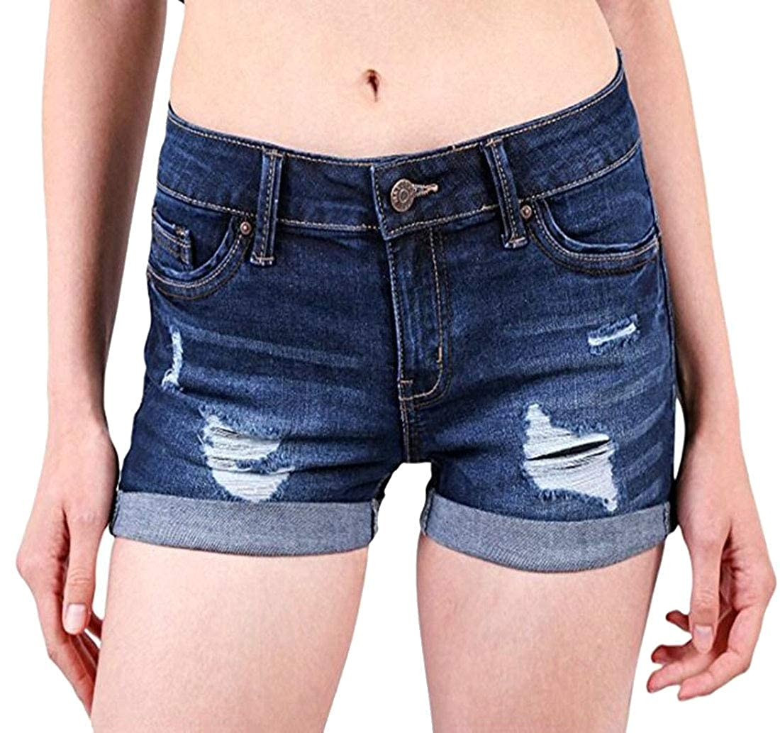 BYWX-Women Roll up Ripped Mid Rise Fashion Plus Size Denim Shorts Jeans Hot Pants