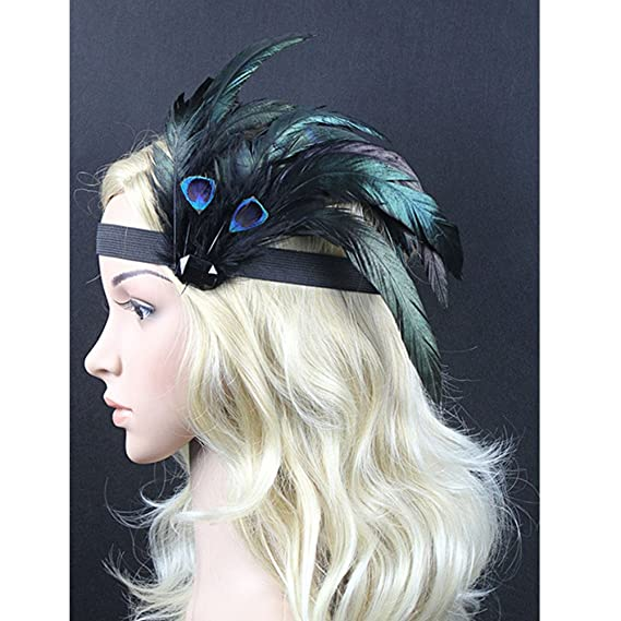 Rosfajiama 1920s Peacock Feather Costume Flapper Headpiece Dance Party Hair Accessory