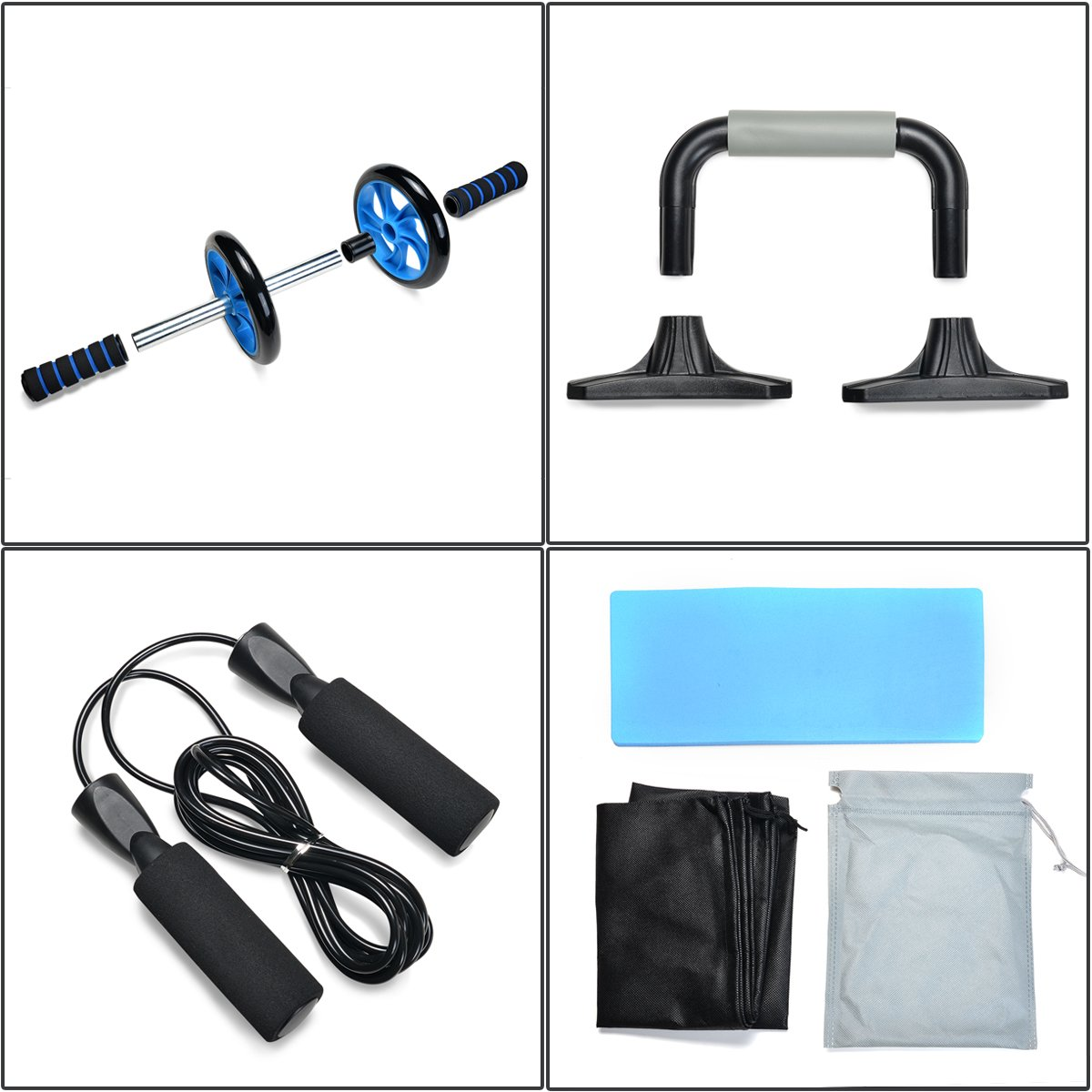 Jump Rope ... Odoland 3-in-1 AB Wheel Roller Kit AB Roller Pro with Push-Up Bar