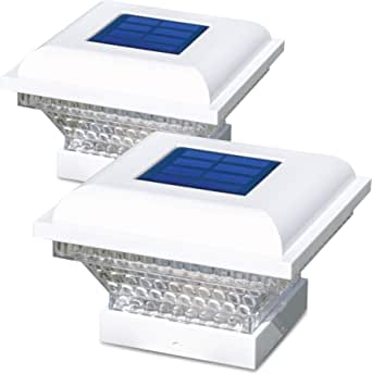 """Home Zone Security Solar Post Lights - Outdoor Solar Post Cap Lights for 3.5"""" x 3.5"""" and 4"""" x 4"""" Posts, White (2-Pack)"""