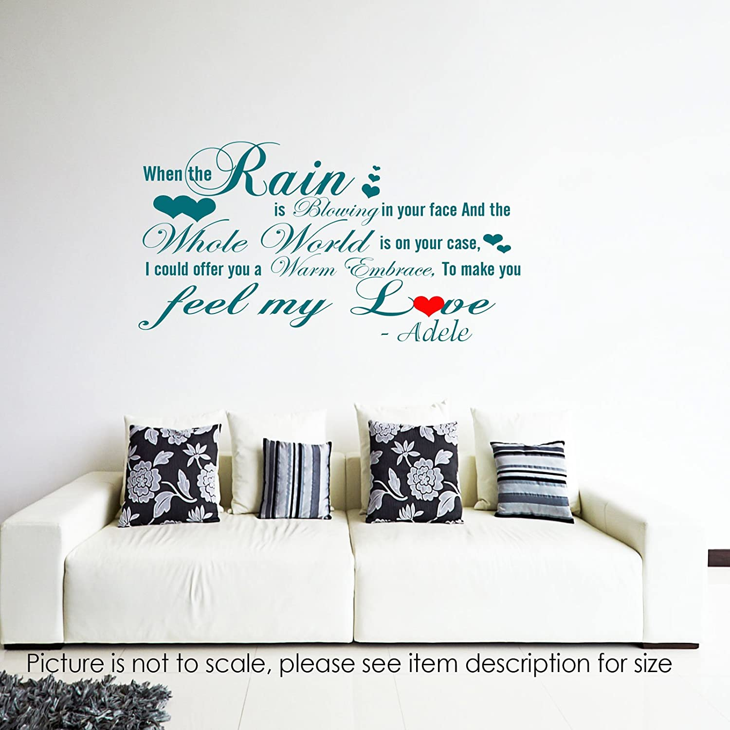 Adele quote wall stickers celebrity quote wall art decal removable vinyl home decor when the rain is blowing in your face adele stickers celebrity quote